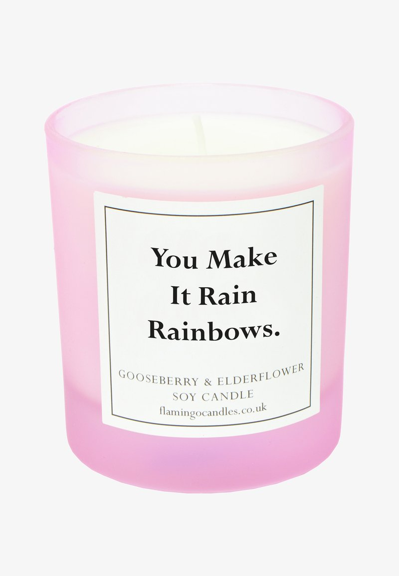 Flamingo Candles - CANDLE - Scented candle - you make it rain rainbows - pink gooseberry & elderflower