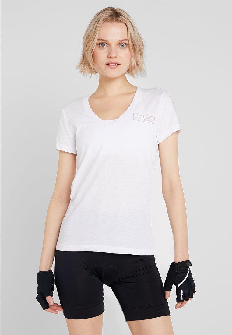 Fox Racing - TRACKER V NECK TEE - T-Shirt print - white