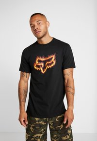 Fox Racing - FLAME HEAD TEE - Print T-shirt - black - 0