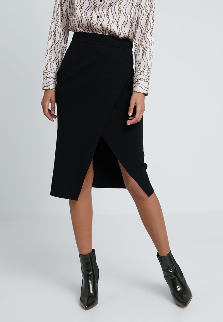 Forever New - WRAP MILANO SKIRT - Falda cruzada - black