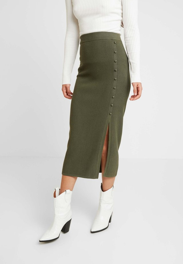 BROOKE BUTTON SKIRT - Pencil skirt - kahki