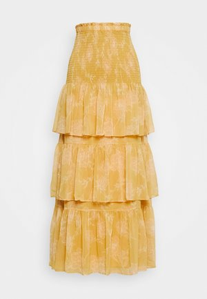 TIERED RUFFLE SKIRT - Maxi skirt - mustard