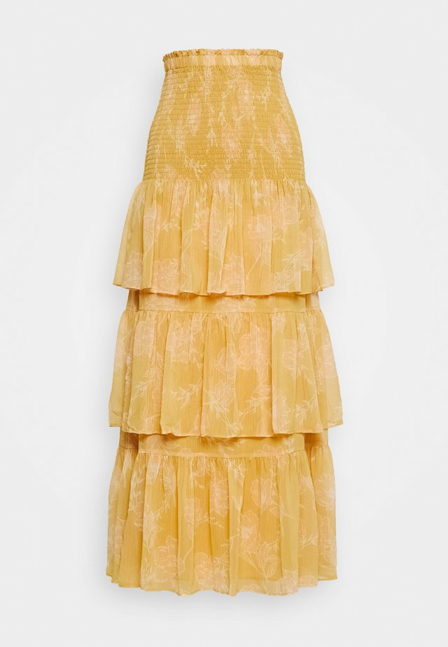 TIERED RUFFLE SKIRT - Długa spódnica - mustard