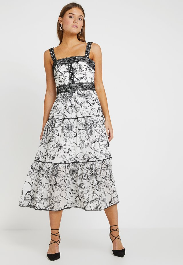 FLORAL EMBROIDERED DRESS - Vestido largo - black/white