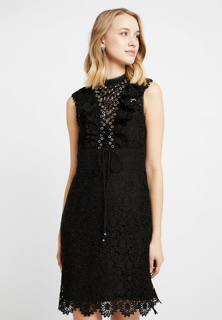 Forever New - FLORAL TRIM TIERED MINI DRESS - Cocktail dress / Party dress - black