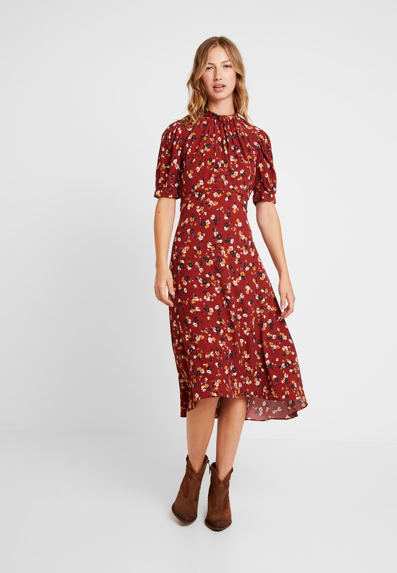 Forever New - TESSA PUFF SLEEVE MIDI DRESS - Vestido largo - bordeaux