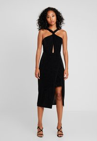 Forever New - DAKOTA WRAP HALTER DRESS - Vestido de cóctel - black metallic - 2