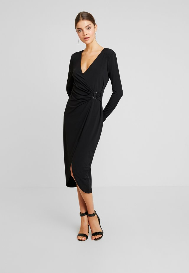 JULIE ASYMM DRAPED DRESS - Etuikleid - black