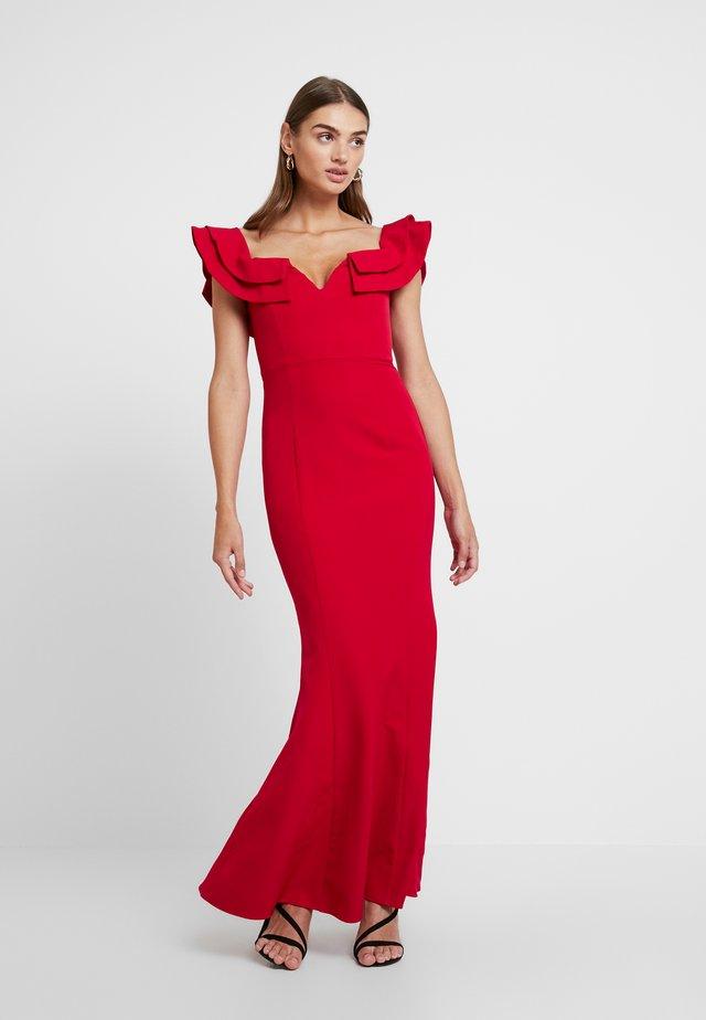 LULU RUFFLE OFF SHOULDER GOWN - Vestido de fiesta - red