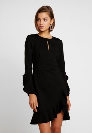 FRILL PONTE DRESS - Cocktail dress / Party dress - black