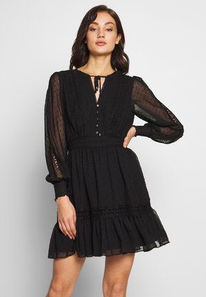 LAYLA SPLICED DOBBY DRESS - Day dress - black