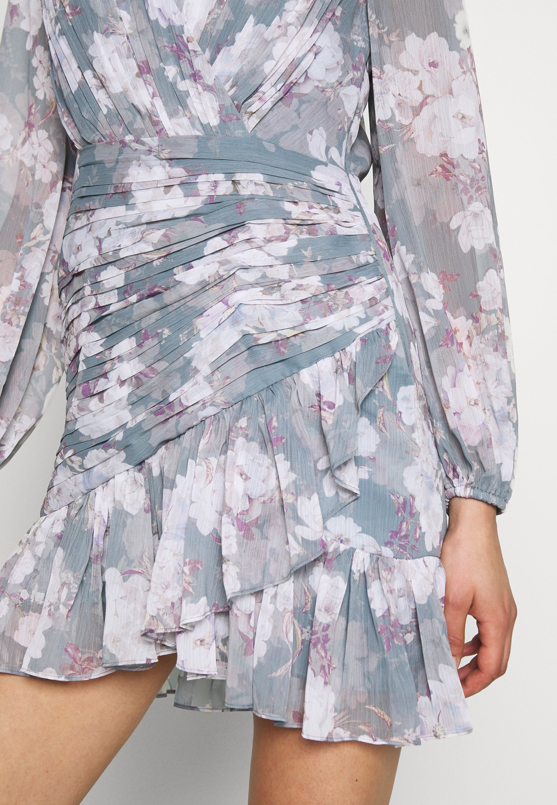 Forever New Ruched Wrap Frill Dress - Day Aqua