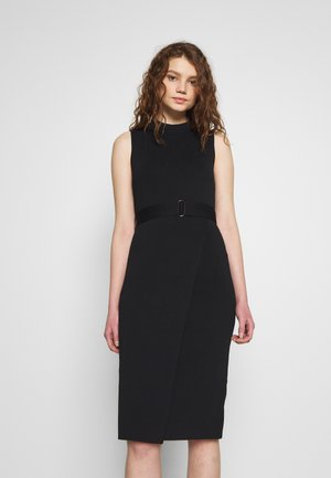 SOPHIA BELTED WRAP MIDI DRESS - Pouzdrové šaty - black