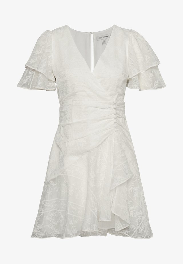 EMBROIDERED MINI DRESS - Vestido informal - offwhite