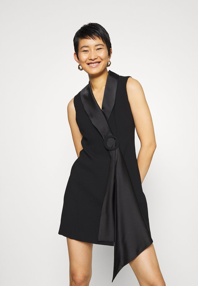 DRAPE TUXEDO DRESS - Shift dress - black