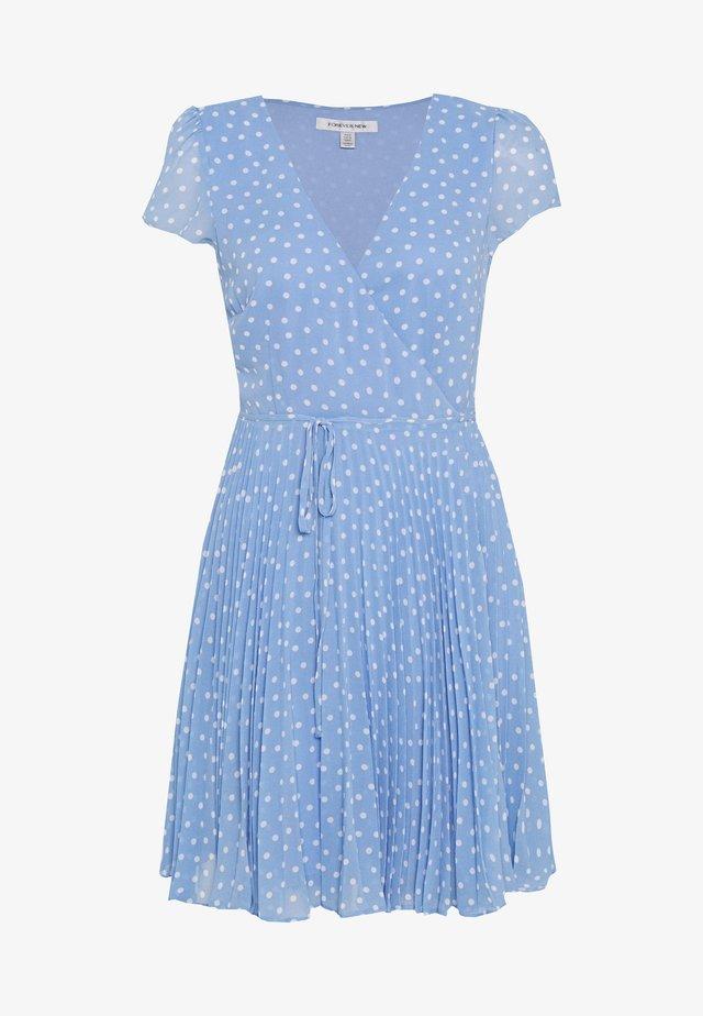 SABRINA WRAP SKATER MINI DRESS - Korte jurk - blue