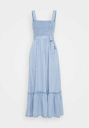 SHIRRED STRIPE MIDI DRESS - Denimové šaty - denim