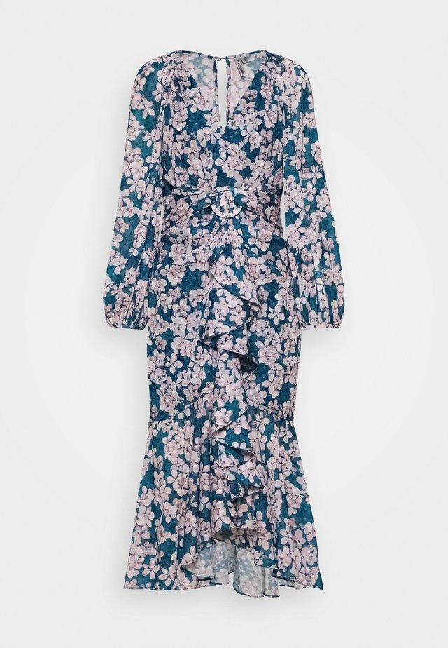 WAIST SASH MIDI DRESS - Korte jurk - mottled teal