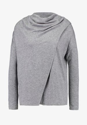 PIPER CROSS NECK PONCHO - Strikkegenser - grey
