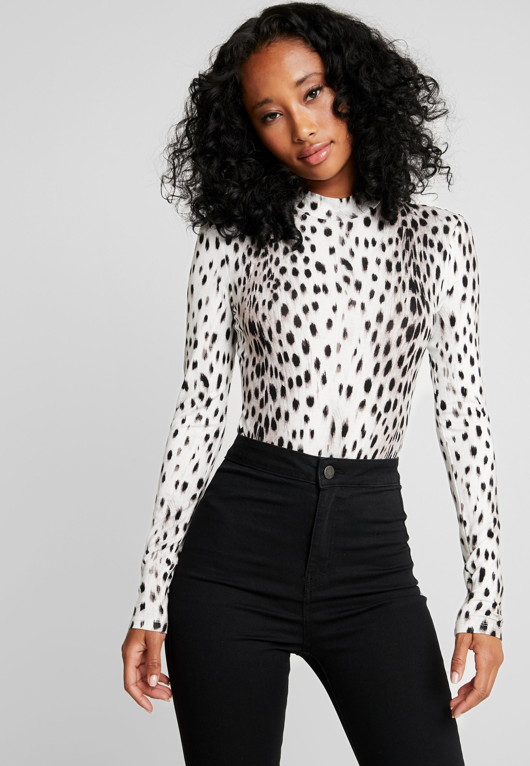 À Forever Longues Leopard Neck New Long Bronte Manches Roll shirt SleeveT 8nO0XwkP