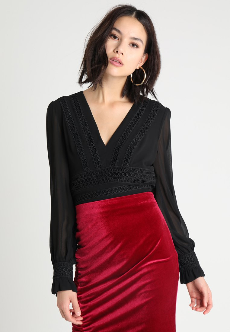 Forever New - SOFIA BALLOON SLEEVE CROP - Bluse - black