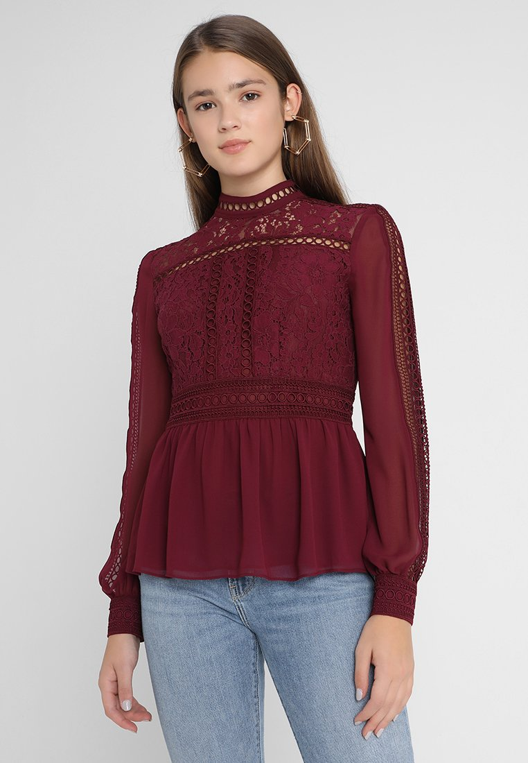 Forever New - HIGH NECK BLOUSE - Bluse - boysenberry rust