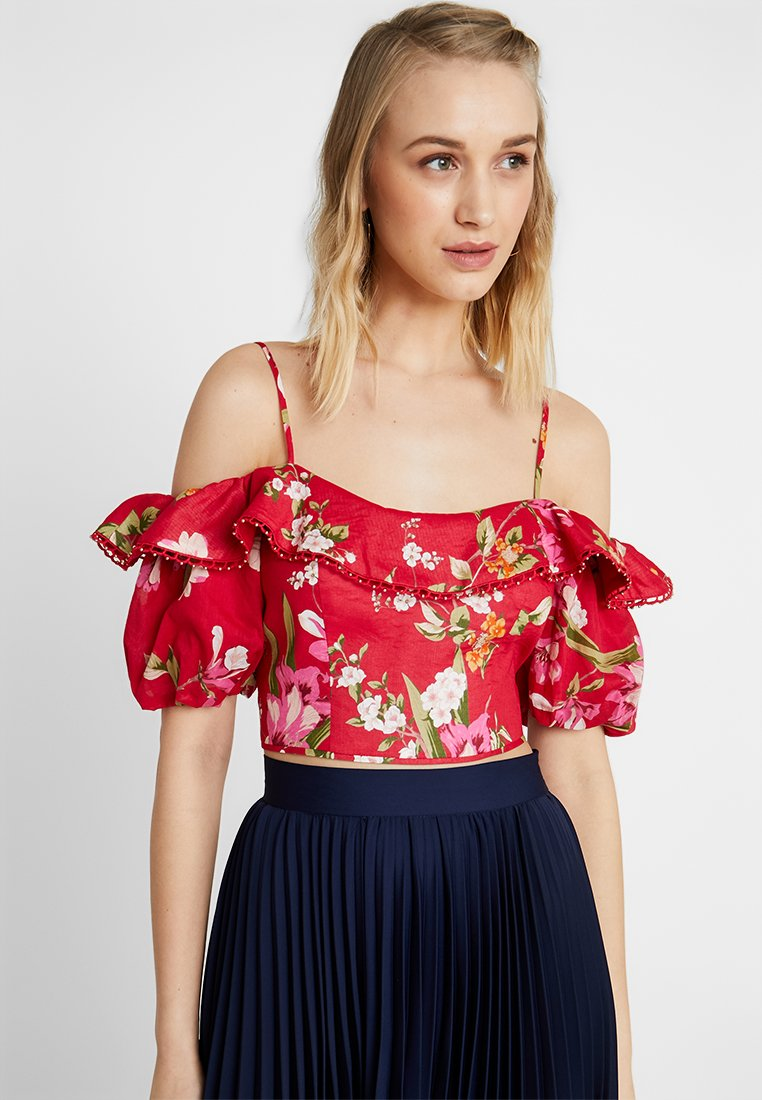 Forever New - RUFFLE PUFF CROP - Bluser - red