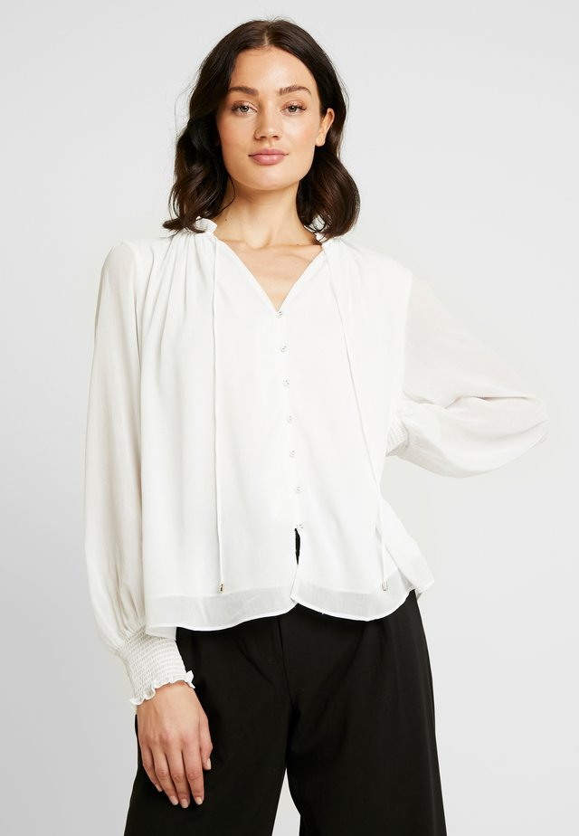 SABINA SMOCKED CUFF BLOUSE - Button-down blouse - porcelain