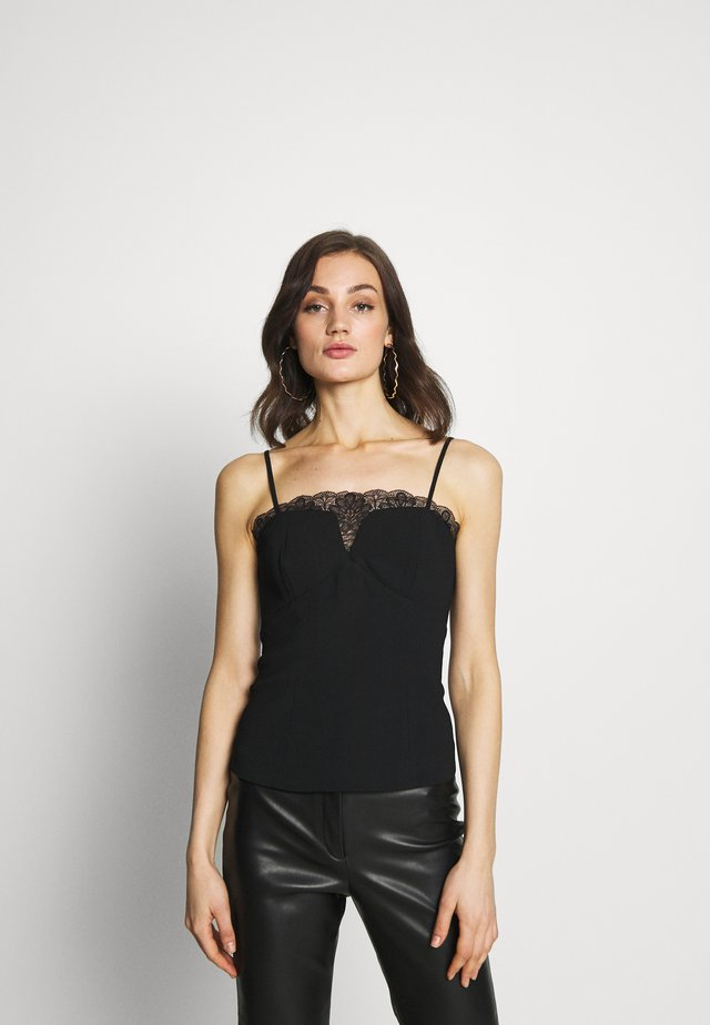 BUSTIER WITH CHANTILLI - Toppi - black