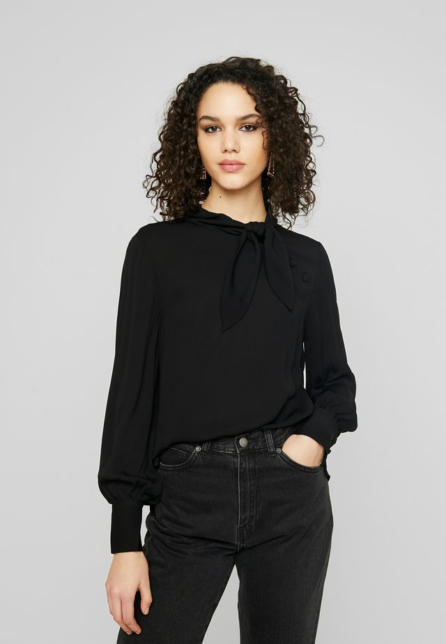 ADENA SHORT TIE NECK BUTTON BLOUSE - Blusa - black