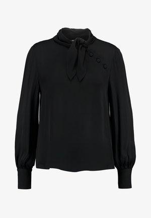 ADENA SHORT TIE NECK BUTTON BLOUSE - Blusa - black
