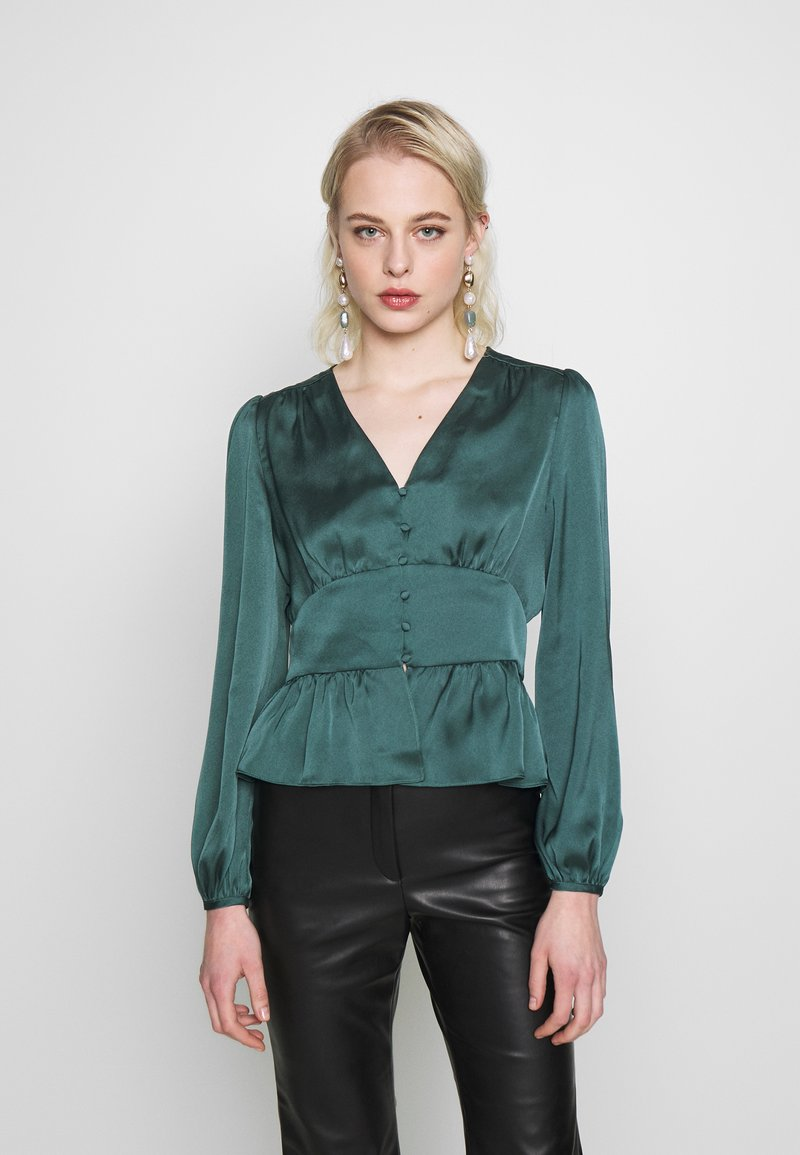 Forever New - DOROTHY PLUNGE BUTTON TOP - Bluser - deep teal