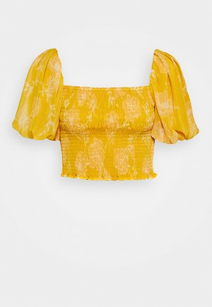 SHIRRED CROP - Blouse - mustard