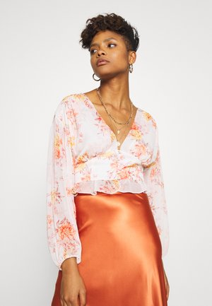 BUTTON FRONT BLOUSON BLOUSE - Blus - orange
