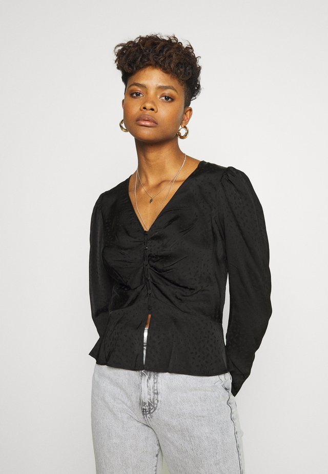 TUCK FRONT BLOUSE - Bluser - black