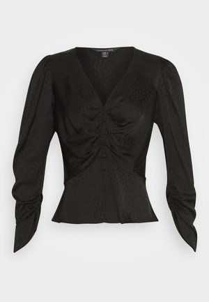 TUCK FRONT BLOUSE - Blusa - black