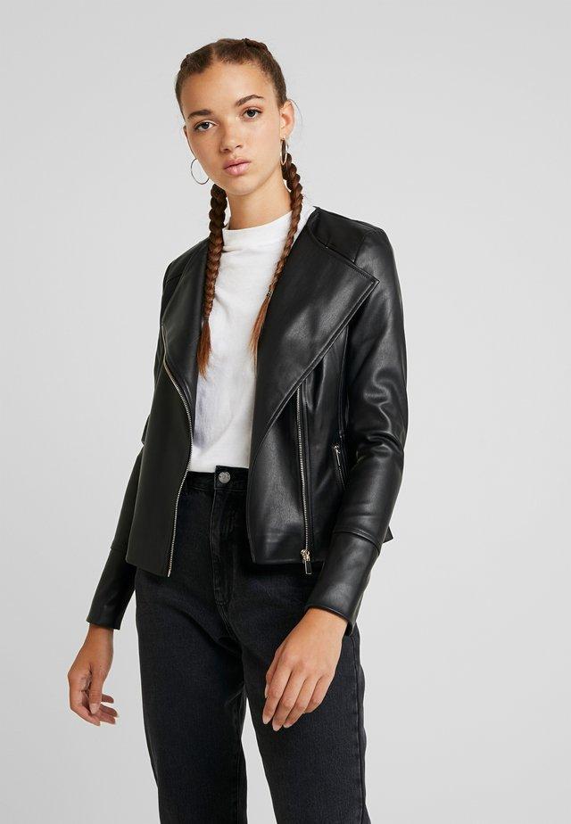 NINA COLLARLESS BIKER - Faux leather jacket - black