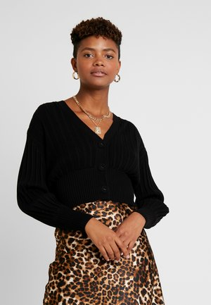 MOLLY PLEAT CARDIGAN - Cardigan - black