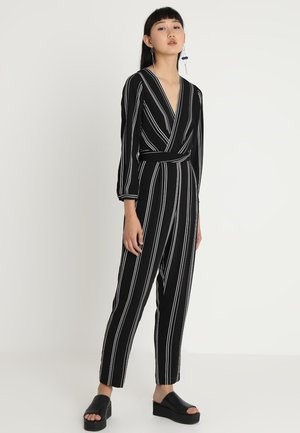 LOGAN TWIST FRONT STRIPE - Jumpsuit - black and white