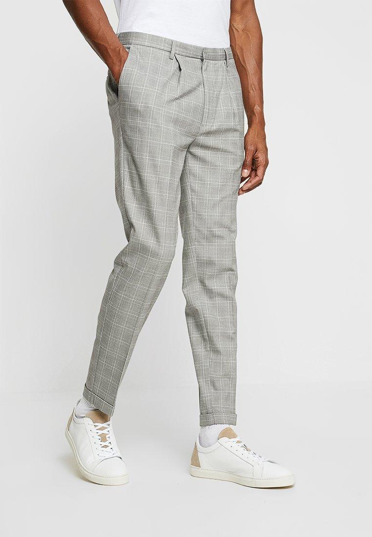 FoR - DALTON SMART CHECK TROUSER - Stoffhose - light grey