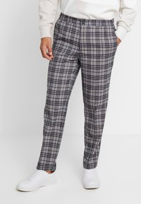 FoR - BAND GRAPHIC CHECK - Trousers - grey - 0