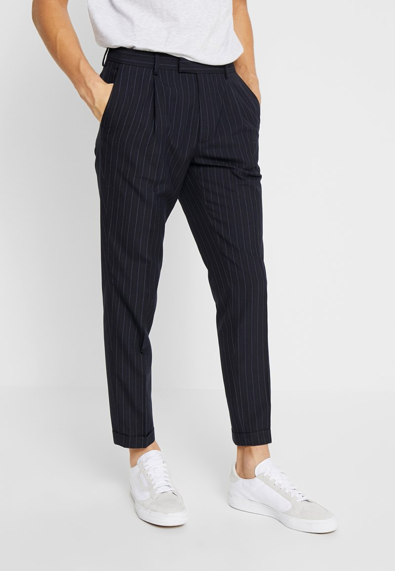 FoR - DALTON DOUBLE STRIPE - Trousers - navy