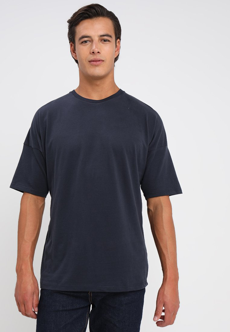 FoR - DROPPED SHOULDER TEE PEACHED - T-Shirt basic - navy