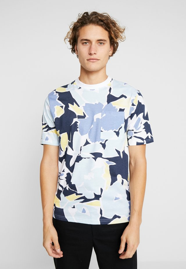 PIERRE FLORAL TEE - Print T-shirt - navy