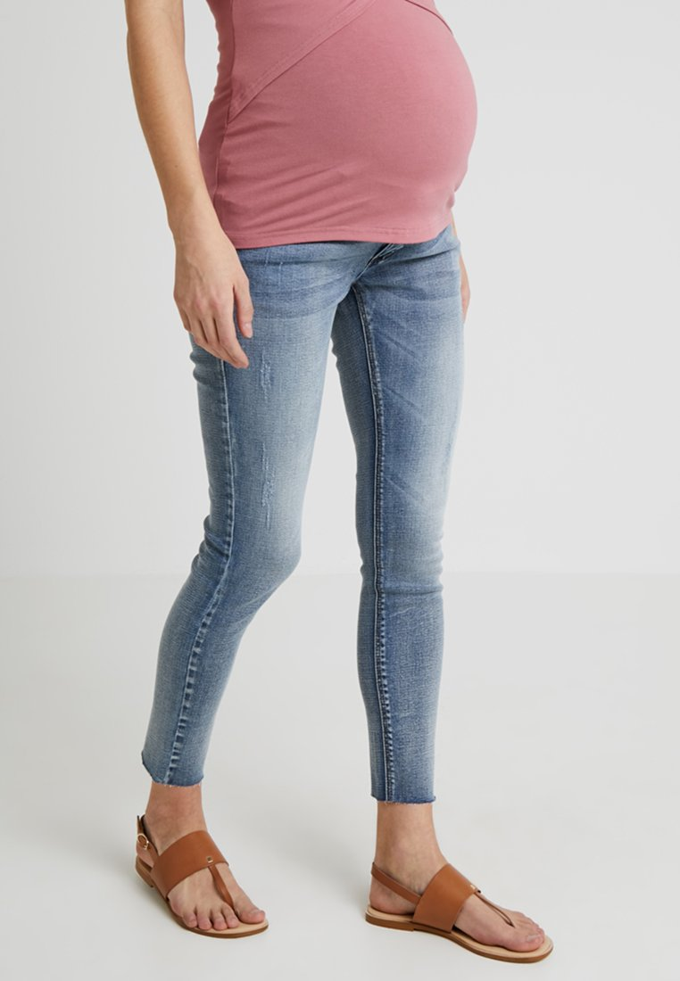 Forever Fit - EXCLUSIVE DISTRESSED ANKLE GRAZER - Jeansy Skinny Fit - vintage wash
