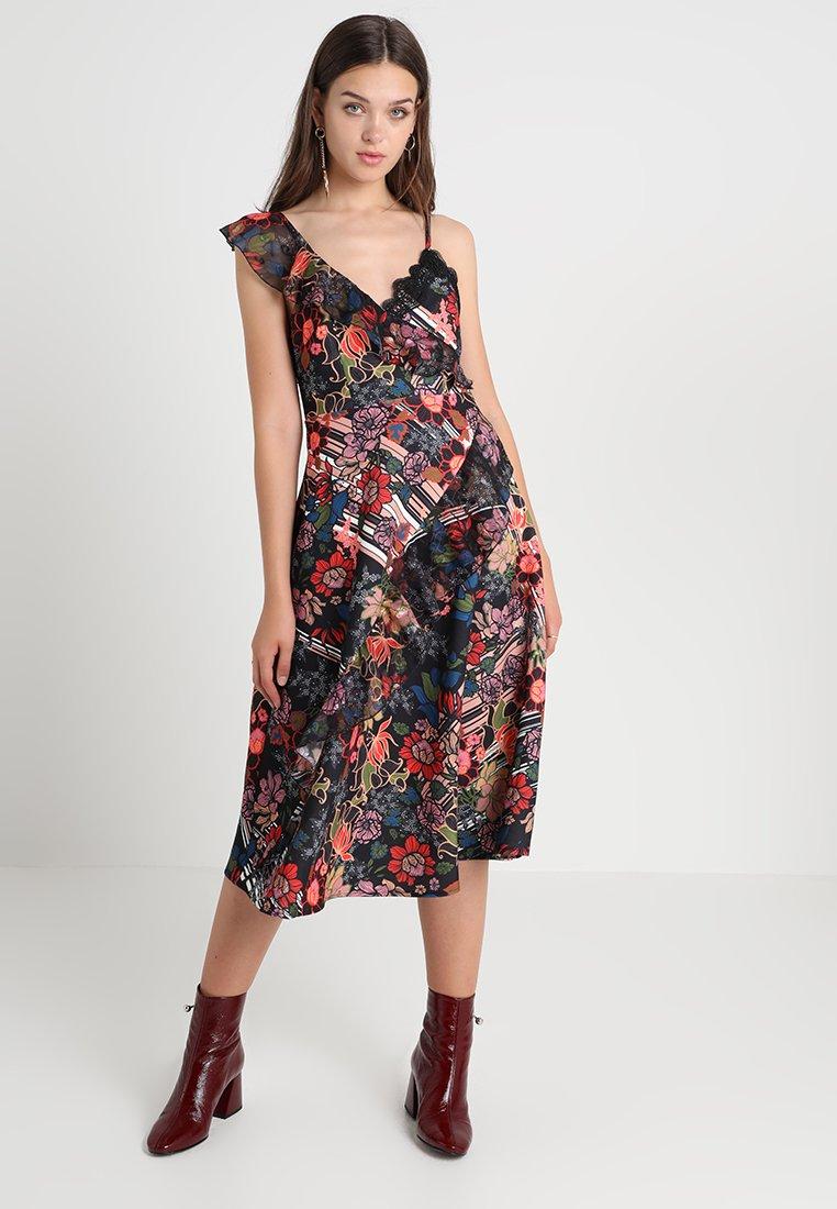 Foxiedox - RETRO FLOWERS ASYMMETRICAL DRESS - Day dress - multicolor
