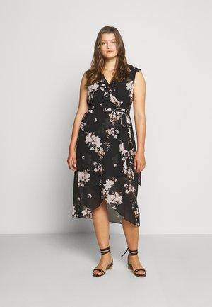 ELLA RUFFLE WRAP DRESS - Robe d'été - black