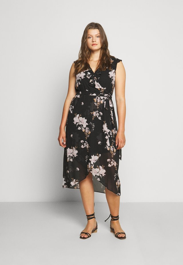 ELLA RUFFLE WRAP DRESS - Korte jurk - black