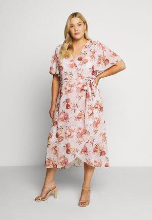 EMMALINE FLUTTER WRAP MAXI CURVE DRESS - Day dress - vintage blush