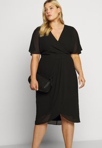Forever New Curve - TORI SLEEVED WRAP OVER DRESS - Robe d'été - black - 4